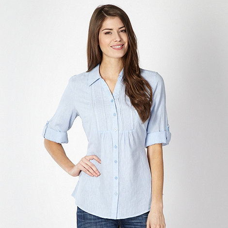 Maine New England - Pale blue linen blend broderie blouse