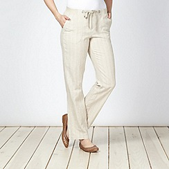 Maine New England - Natural striped linen blend trousers