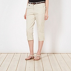 Maine New England - Natural belted cropped chinos