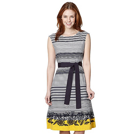 Maine New England - Navy striped embroidered bow dress