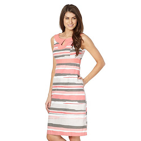 Maine New England - Coral blurred stripe keyhole dress