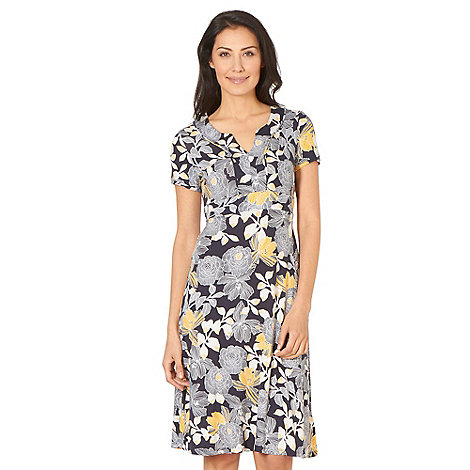 Maine New England - Navy floral print notch dress