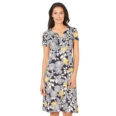 Maine New England - Navy floral print notch dress