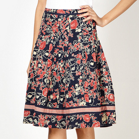 Maine New England - Navy striped flower print skirt