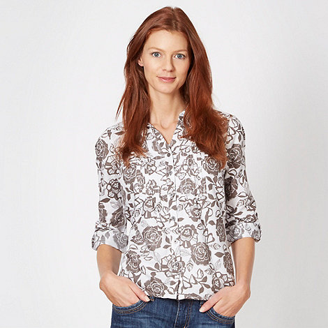 Maine New England - Taupe floral print linen blend shirt