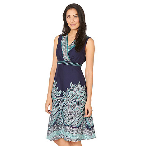 Maine New England - Navy border print wrap dress