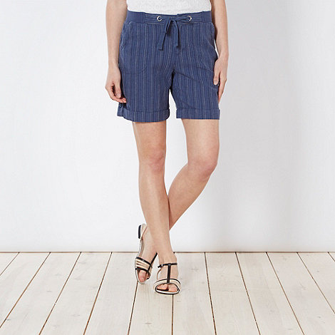 Maine New England - Blue fine striped linen blend shorts