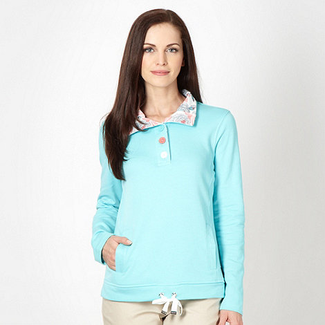 Maine New England - Aqua half button neck sweat top