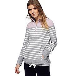 Maine New England - Grey striped zip neck sweatshirt