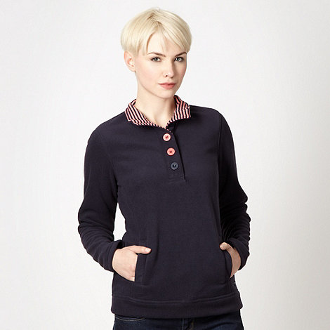Maine New England - Navy half button front fleece top