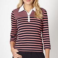 Pink striped collar jumper