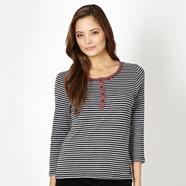 Grey striped button neck top