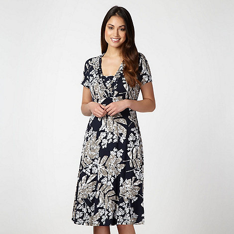 Maine New England - Navy floral ruffle trim jersey dress