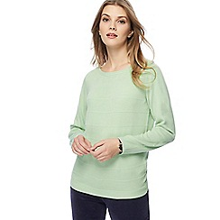 Maine New England - Pale green textured striped jumper