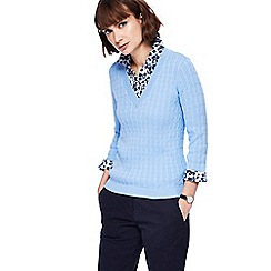 Maine New England - Light blue cable knit mock jumper