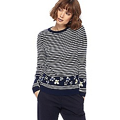 Maine New England - Navy striped floral knitted jumper