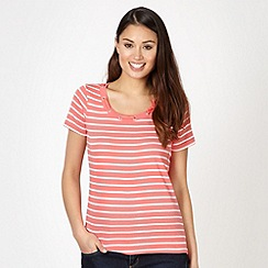 Maine New England - Coral striped tape neck t-shirt