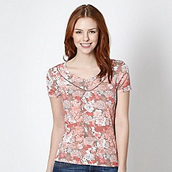 Maine New England - Coral floral printed top