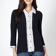 Navy 2-in-1 spotted shirt and cardigan