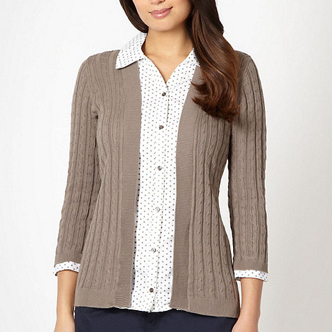 Maine New England - Taupe 2-in-1 spotted shirt and cardigan