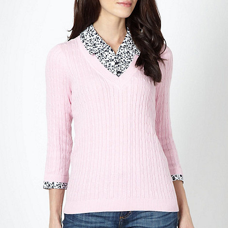 Maine New England - Pale pink cable knit mock shirt collar jumper