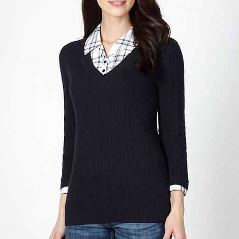 Maine New England - Navy cable knit mock checked shirt collar jumper