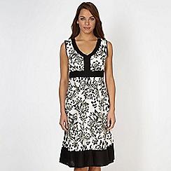 Maine New England - Black tropical flower print dress