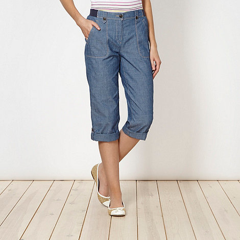 Maine New England - Light blue chambray cropped trousers