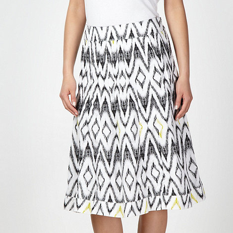Maine New England - White aztec print linen blend skirt