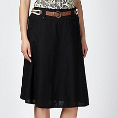 Maine New England - Black belted cotton linen skirt