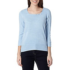 Maine New England - Light blue ultra soft square neck jumper