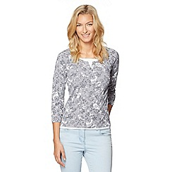 Maine New England - Grey shadow flower print mock 2-in-1 top