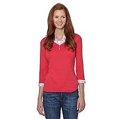 Maine New England - Rose plain mock shirt insert top