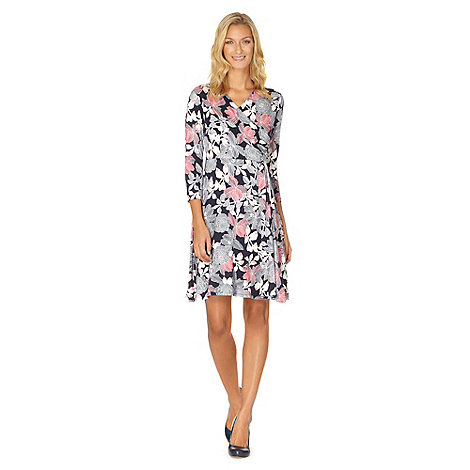 Maine New England - Navy outline floral print jersey dress