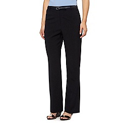 Maine New England - Black belted flat front trousers