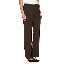 Maine New England - Chocolate belted flat front trousers