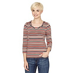 Maine New England - Orange multi striped rope neck top