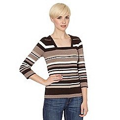 Maine New England - Brown striped empire neck top