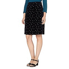 Maine New England - Navy leaf patterned cord skirt