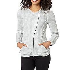 Maine New England - Grey textured biker cardigan
