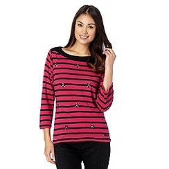 Maine New England - Pink striped jewel embellished top