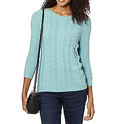 Maine New England - Light turquoise luxury cable knit jumper