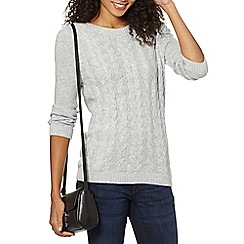 Maine New England - Light grey luxury cable knit jumper