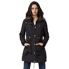 Maine New England - Black faux fur zip through parka jacket