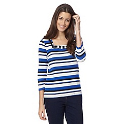 Maine New England - Royal blue striped ring detail top