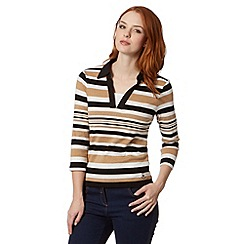 Maine New England - Fawn striped mock layer top