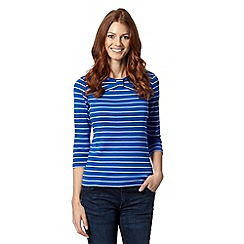 Maine New England - Royal blue striped bow front top