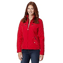 Maine New England - Red quilted funnel neck jacket