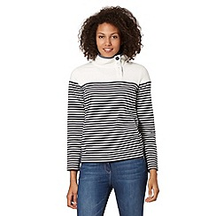 Maine New England - Navy striped asymmetric button neck sweatshirt