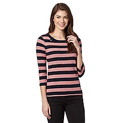 Maine New England - 3/4 sleeve block stripe tab scoop neck top